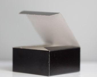 50- 4x4x2 inch Black Gift Box, Black Tie Event Favor Box, New Years Eve Box, Little Black Box, Valentines Day Gift Box
