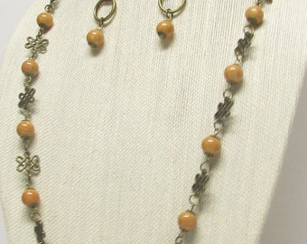 """33 1/2"""" Antique Brass Necklace Set #19882"""