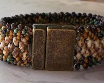 Earth tones Kumihimo Cuff Bracelet