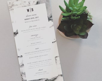 Bailey Marble Wedding Menu Card (pictured in white, grey and black)
