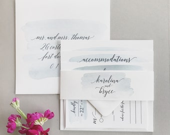 Karolina Watercolor Square Wedding Invitation Suite with Belly Band - Light Blue Gray Eucalyptus Watercolor (colors/text customizable)