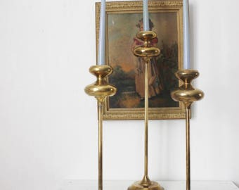 Trio of Tall Brass Candle Holders