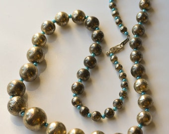 Silver Bead Necklace Vintage Silver and Turquoise Bead Necklace