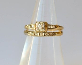 Art Deco Engagement Wedding Ring Set Size 4.5 14ct. Antique Wedding Set