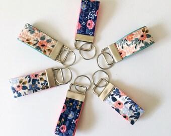 mini Rifle Paper Co keychain, rosa key fob, floral keychain, thumb fob, small gift under 10, teacher gift, womens key fob