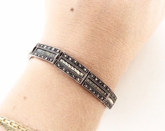 Sterling silver and Marcasite semi Rigid  bracelet  old vintage