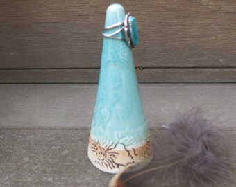 Aqua Blue Green Ceramic Ring Holder Cone in Crackly Glaze and Floral Texture, Gift Idea, Handmade Artisan Pottery by Licia Lucas Pfadt