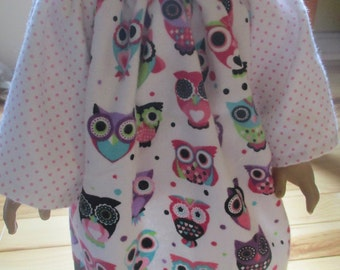 18 inch doll peasant dress, owl nightgown for 18 inch dolls
