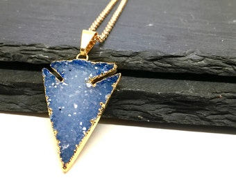 Drusy Arrowhead Arrow Necklace Trendy Necklace Sparkly Necklace Blue Necklace Boho Necklace Arrow Jewelry Gift For Her Under 60 Long Druzy