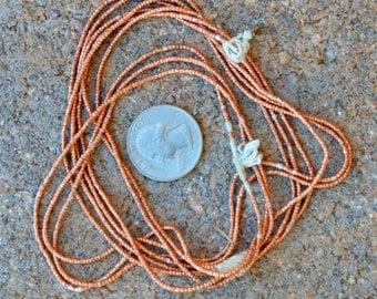 African Copper Heishi: 3 Strands (1x1mm)