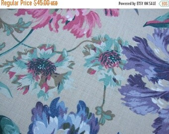 """2016 SALE 56"""" Wide Linen Screen Print Schumacher Home Decorator Fabric Floral Pattern Linen Fabric Yardage Curtain Drapery Made in England S"""