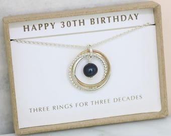 30th birthday gift, black pearl necklace, June birthstone jewelry, June birthday gift 30th, black pearl jewelry - Lilia