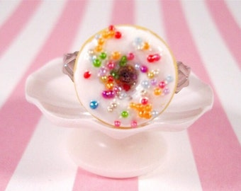 White Chocolate Rainbow Sprinkled Donut Ring