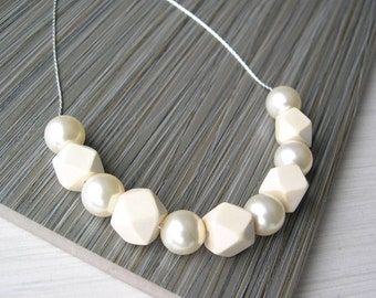 Ivory Pearl Necklace, Modern Jewelry, Bridal, Wedding Accessory,  Wood Anniversary Gift, 5th, Unusual, Hexagon, Contemporary
