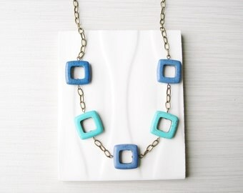 Blue Stone Necklace - Geometric Jewelry, Turquoise, Long, Antiqued Brass Chain, Gold Toned