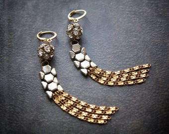 Mesh Chain Earrings Silver Assemblage Chain Dangles Statement Long Brass Rhinestone Ball Industrial Edgy Boho Festival Jewelry Upcycled