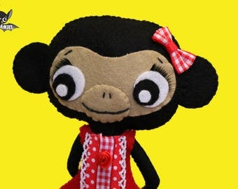 Felt Chimpanzee girl handmade ooak art doll decoration CHIMPDORA