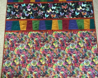 "Gypsy's Garden Lap Quilt Kit - 52"" x 72"" Kit  - Modern Butterflies Flowers - The Meandering Thread"