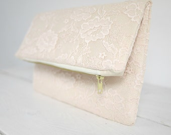 Pale pink Lace clutch, light pink clutch, pale pink wedding clutch, pastel pink handbag