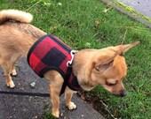 Lumberjack Small Dog Harness Made in USA, dog harness, dog harnesses, buffalo plaid, fleece