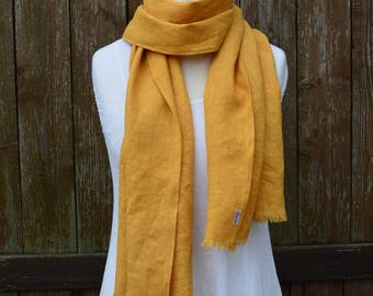 Hand dyed linen scarf- eco dyed- eco friendly scarf- eco scarf