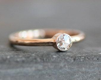 Moissanite Engagement Ring - Solid 14K ROSE Gold 2mm Band - 4mm Ethical Rose Cut Gemstone (Size 3 - 9) - Eco Metal - Diamond  Alternative