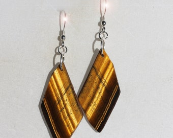 RESERVED FOR KAMILLA Eye of the Tiger - Freeform Golden Tiger Eye Sterling Silver Earrings