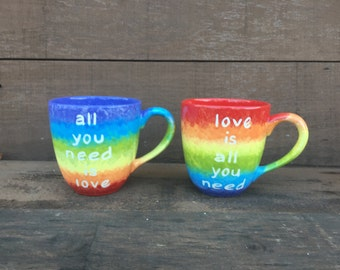 OOAK All You Need Is Love / Love Is All You Need - Beatles Quote 20 oz. Mug Set - Rainbow Stripes with White Text