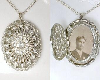 Antique Art Deco Pave Rhinestone Pendant Necklace, Vintage 1920's Bridal Locket, 1930s Silver Paste Crystal Photo Memorial GATSBY Wedding