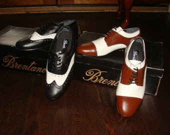 Brentano 2 Tone Spectator co-respondent Shoes Leather Upper Suede sole & Heel Shoes Black White Brown Swing Dance Wingtip Cap Toe Spectators
