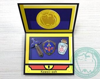 Zelda Items Hard Enamel Pins - Zelda Breath of the Wild - Master Sword Shield Fairy Bottle Navi