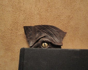 Grichels leather bookmark - scaly brown with bronze speckled slit pupil reptile eye