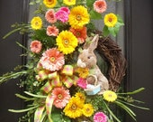 Gerber Daisy Wreath, Bunny Wreath, Easter Door Wreath, Spring Wreaths, Easter Wreath, Spring Door Wreath