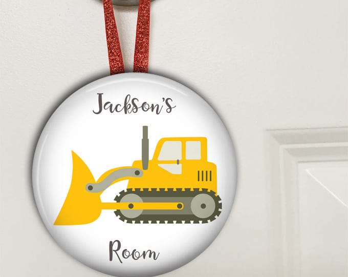 Bulldozer door knob hanger - personalized name signs for kids - bedroom door sign - kids bedroom decor - birthday gift for boys- HAN-PERS-16