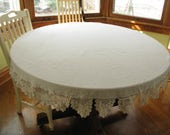 Vintage Round Linen Tablecloth, natural, ivory, crocheted, crochet border