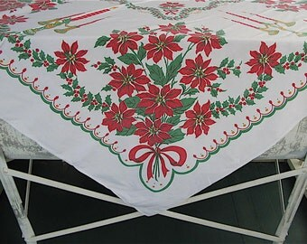 Vintage Christmas Tablecloth, cotton, square,red green, print, 45 x 45