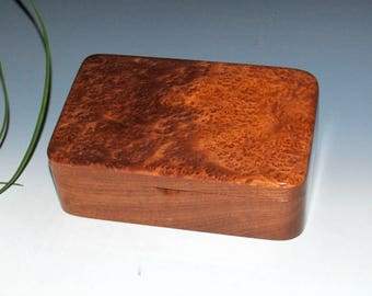 Handmade Wood Stash Box, Wood Box, Wood Jewelry Box - Redwood Burl on Mahogany by BurlWoodBox - USA Made - Small Wooden Box-Wood Boxes, Box
