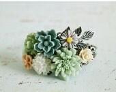 Black Friday SALE Flower Cuff Bracelet. pastel bouquet bracelet, vintage wedding jewelry. bridesmaid jewelry