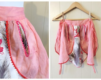 Vintage Apron Hostess Pink Bird Print Ricrac Red 50s