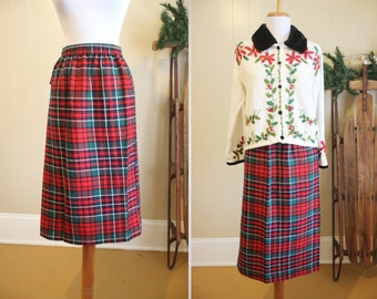 Red Plaid Skirt Christmas Vintage Holiday Green Tartan 80s Small