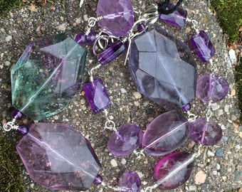 One of a Kind Amethyst and Fluorite with Sterling Silver