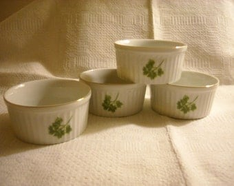 Four Porcelain Ramekins by Andrea for Sadek  with Parsley Sprigs Perfect Condition