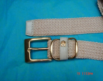 Etienne Aigner Light Beige crochet Leather Accent Belt