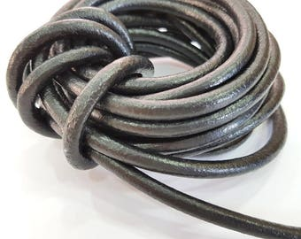 Black Leather Cord 1mt-3.3 ft (7mm) Round Leather Lacing  G7596