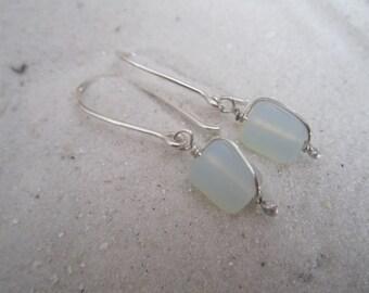 Frosted Opal 'Sea Glass' Earrings