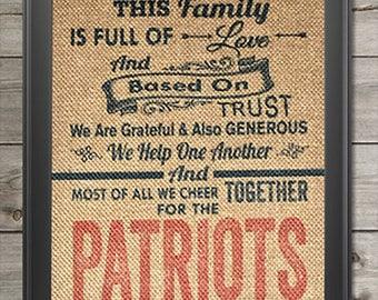 New England Patriots super bowl champs burlap print wall art 8x10 fan cave decor