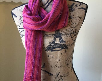 Handwoven Rayon and Rayon Chenille Red and Purple Scarf
