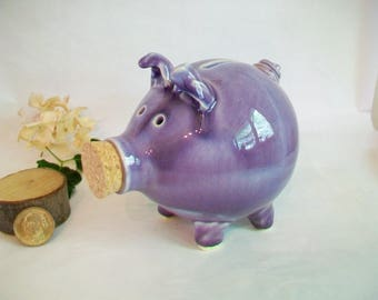 Piggy Bank - Purple/Plum Glaze - Handmade on the Potters Wheel - Charming Gift - One of a Kind Piggy Bank