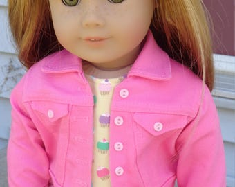 Colorful Cupcake Print Knit Dress And Pink Jean Jacket For American Girl Or Similar 18-Inch Dolls
