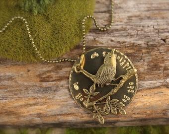Bird Branch Tree Wildflowers Necklace